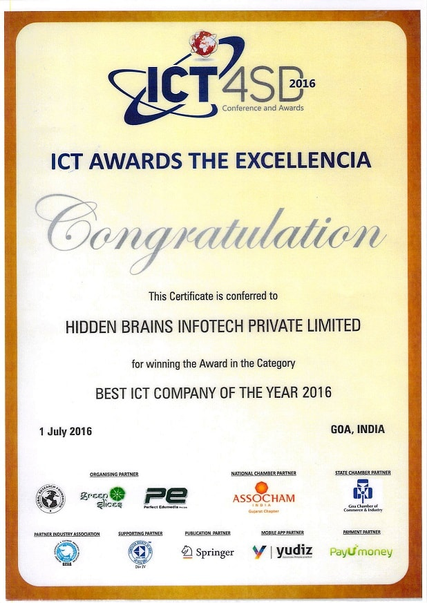 Hidden Brains - ICT4SD - 2016 Certificate