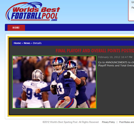 Worlds Best Football Pool : PHP Development Project for